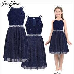 От 6 до 14 лет блестящее кружевное платье без рукавов с блестками и цветочным рисунком для девочек-подростков; Vestido de festa; Нарядные Летние плат...