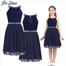 6 14T Teen Girls Sleeveless Sequined Floral Lace Shiny Dress Vestido de festa for Weeding Formal Birthday Party Summer Dresses