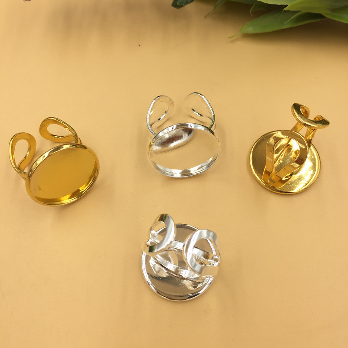 SEA MEW 20PCS 20mm Round Cabochon Base Ring Blank Silver Gold Tone Rings Cameo Settings For Women DIY Jewelry Making