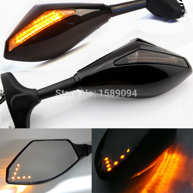 New LED Turn Signal Indicators Motorcycle Rearview Side Mirrors Retroviseur Clignotants Moto For Honda CBR 250 600 900 1000 RR цена