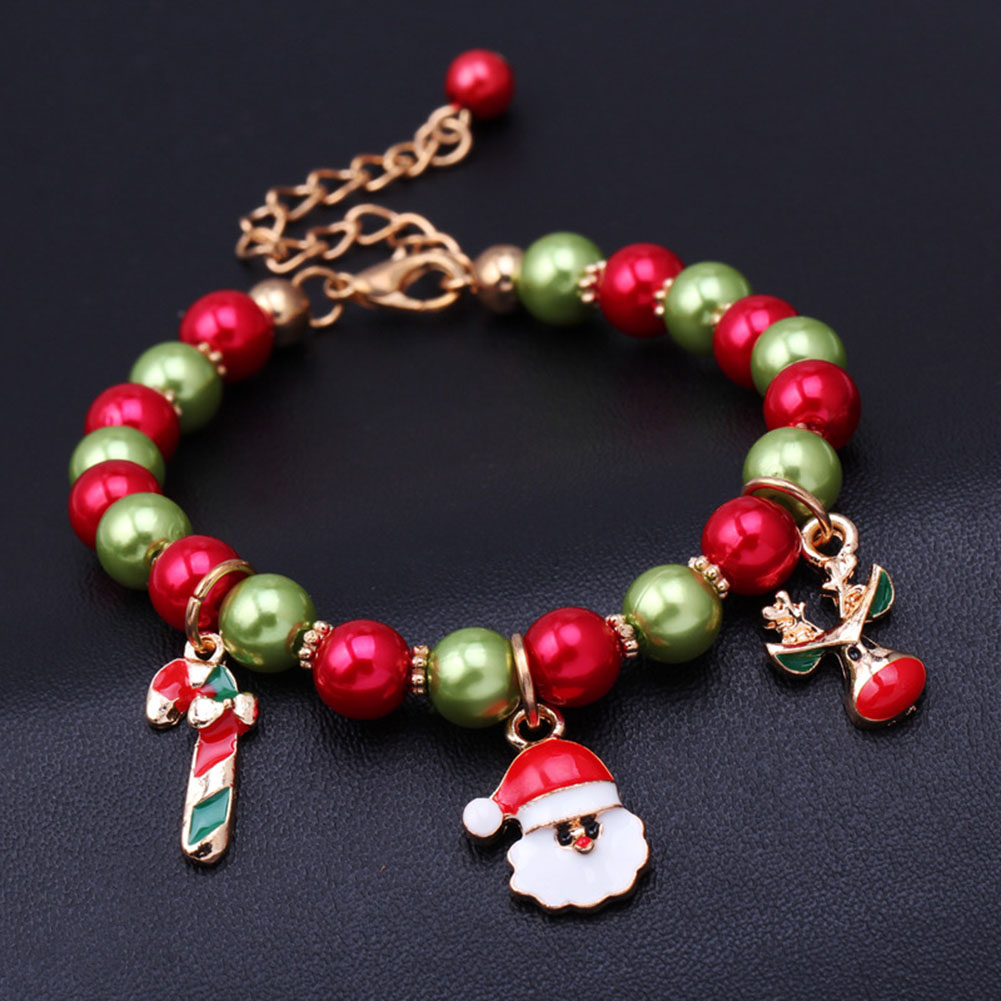 Winter New Santa Claus Reindeer Bracelet Christmas Gift Red And Green Father Christmas Candy Bracelet
