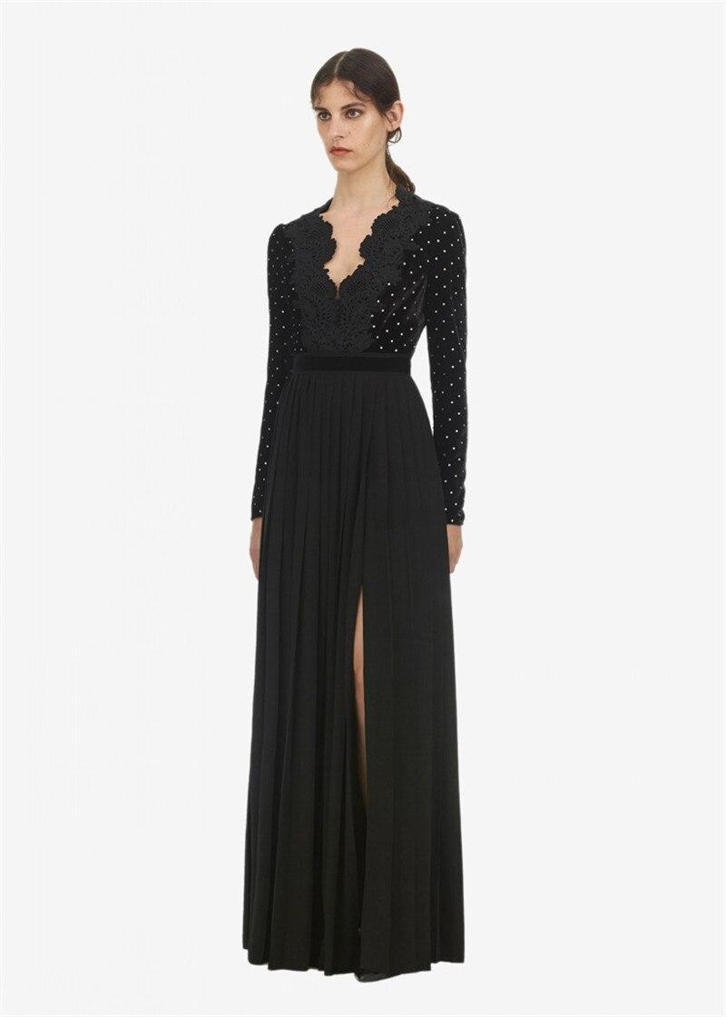 2019 new arrive velvet lace pleated long dress full sleeve deep V elegant black long party