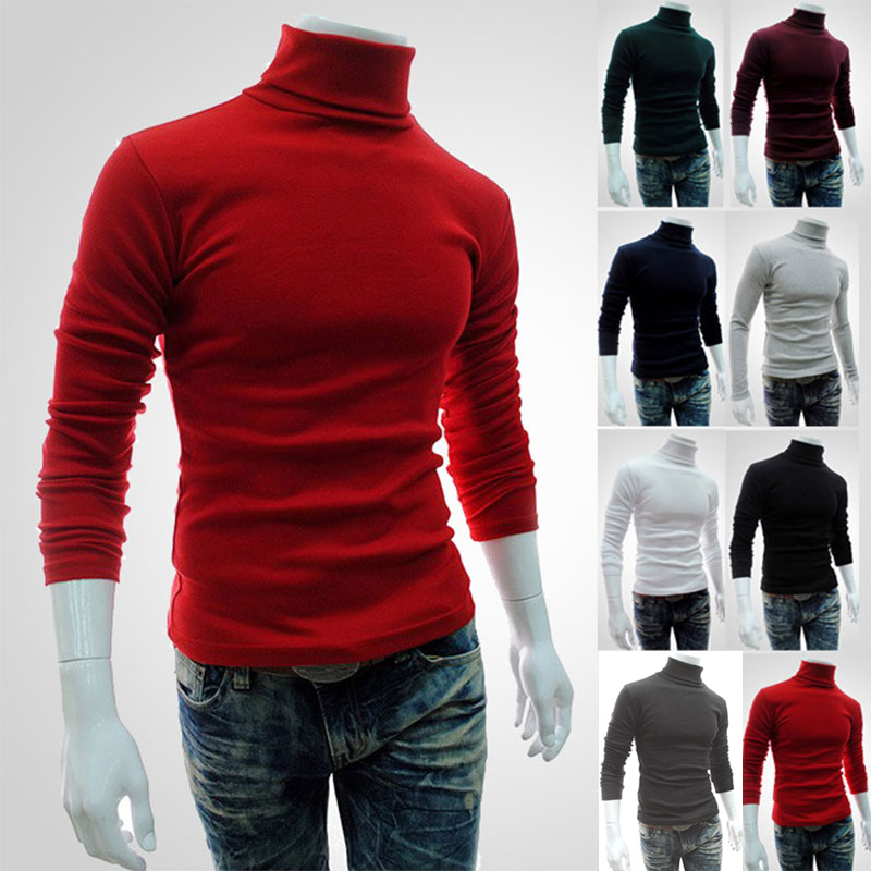 Casual Men Long Sleeve Knitwear Autumn Winter Turtle Neck Slim Fit Basic Pullover Tops XIN-Shipping