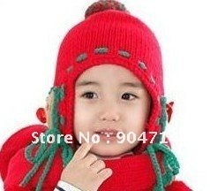 earflap hat/infants &children Knitted winter hat/Lovely ear Cubs ball cap/kids winter knitted cap/1-6 years/3 color