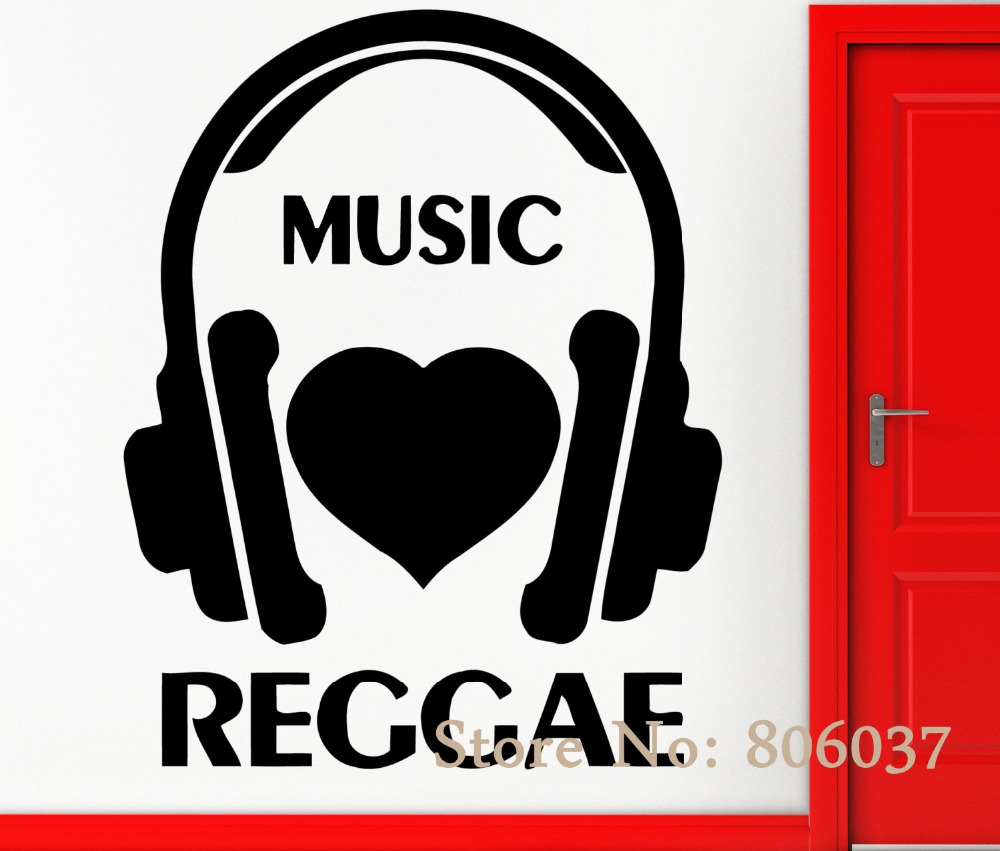 Removable musical wall stickers vinyl decal music i love reggae cool rock pop decor home decor wall adesivo wall paper wa 32