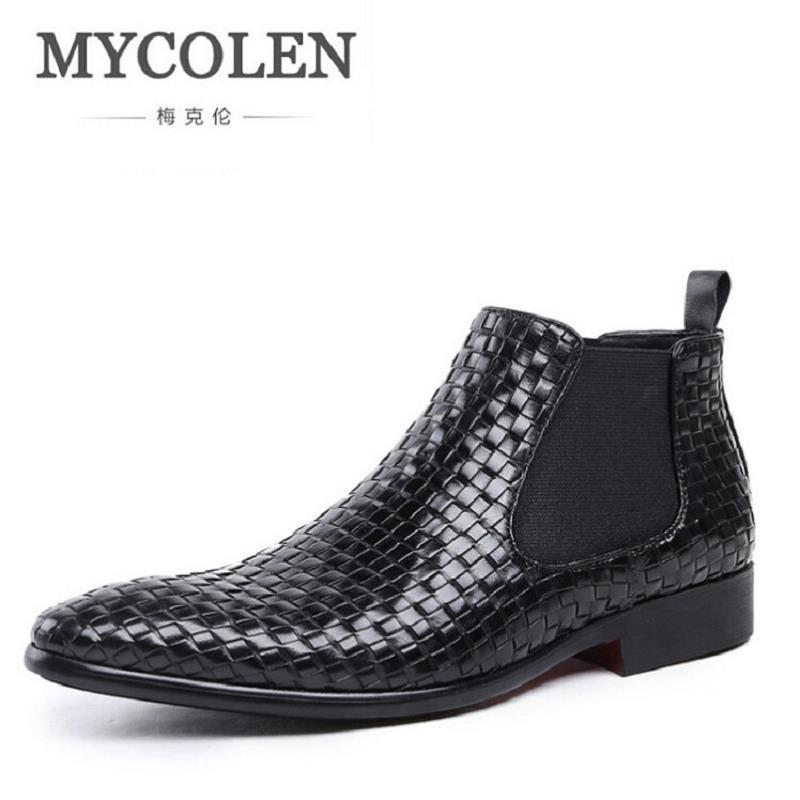 MYCOLEN Luxury Brand Autumn Winter Men Shoes Boots Retro Lace-Up Black Martin Boots Top Quality Male Leather Shoes Erkek Bot