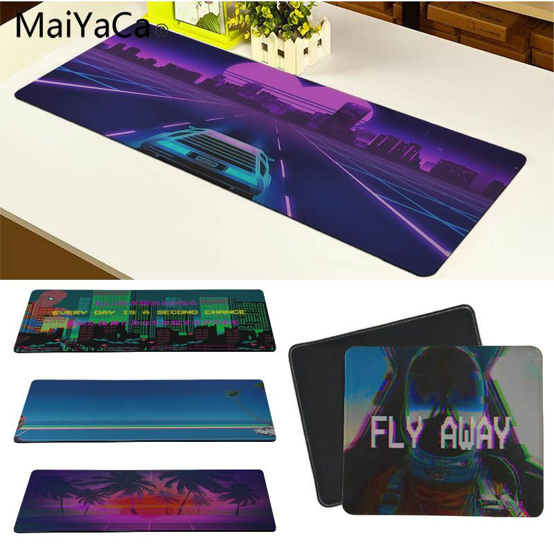 MaiYaCa Vaporwave Silicone Pad To Mouse Game Size For 30x80cm And 30x90cm Gaming Mousepads