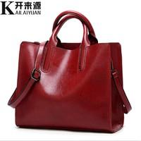 KLY 100% Genuine leather Women handbags 2019 New handbags Cross border goods Simple handbag Ms. Briefcase Shoulder Messenger