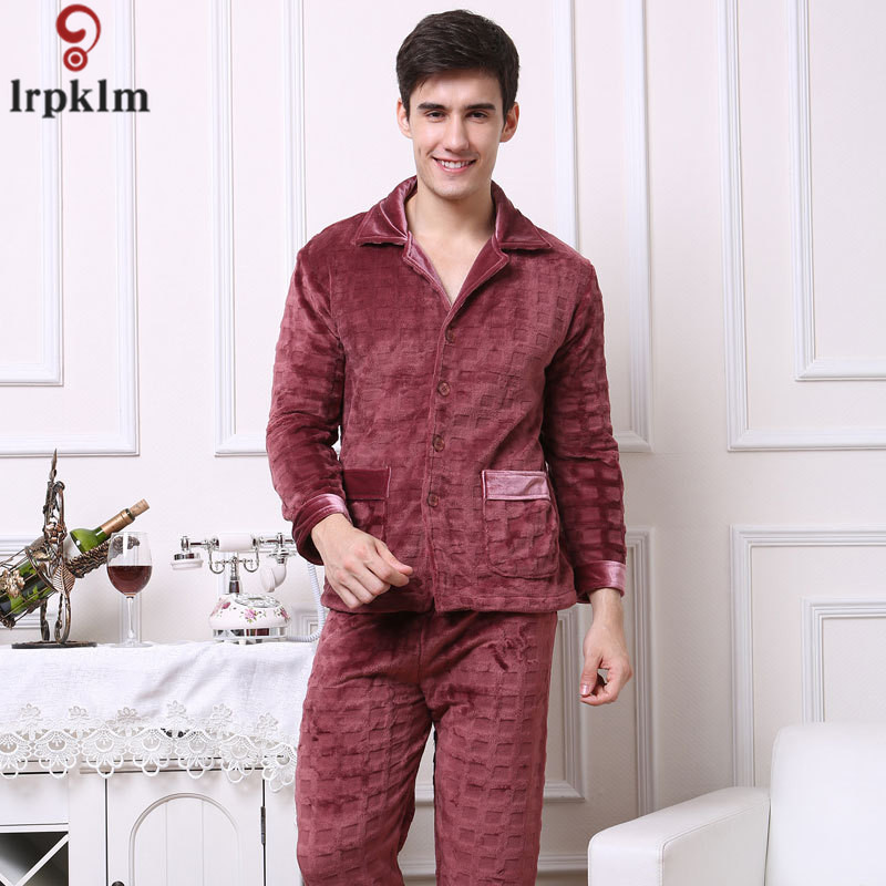 2017 Winter Keep Warm Thick Coral Fleece Men Pajamas Sets Of Sleep Tops Bottoms Flannel Sleepwear