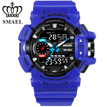 Cool Blue Sport Watch Men Dual Time Big Dial LED Digital Watches 5ATM Shock Resistant Men's Wrist Watch relogios masculinoWS1436