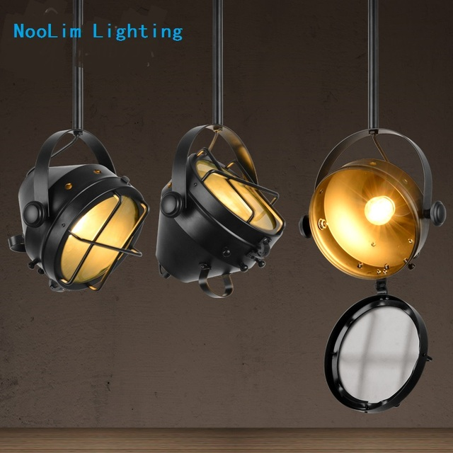 American Iron Long Arm Bedside Spotlight Vintage Decoration Pendant Light Stage Lights For Bar Coffee E27