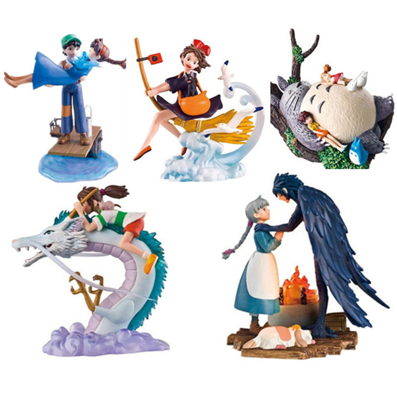 Kiki's Delivery Service Spirited Away My Neighbor Totoro Porco Rosso Hayao Miyazaki Movie Action Figure Toy 5pcs/set 9cm 1set miyazaki hayao my neighbor anime totoro figure totoro mei fairy dust resin action figure toy gifts for garden home decor