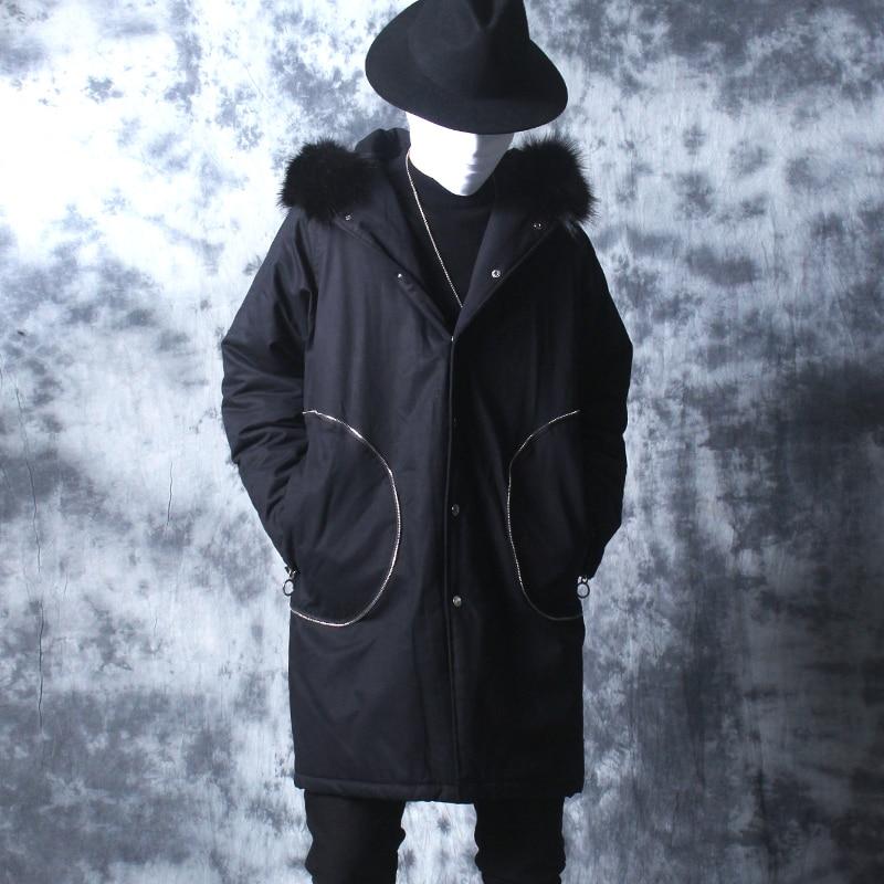 Hommes En Grand Coton Coréenne Mince Manteau01 Capuchon Long Manteau Col Laine Vêtements D'hiver À Lâche Costume Version Chaud PXZkiu