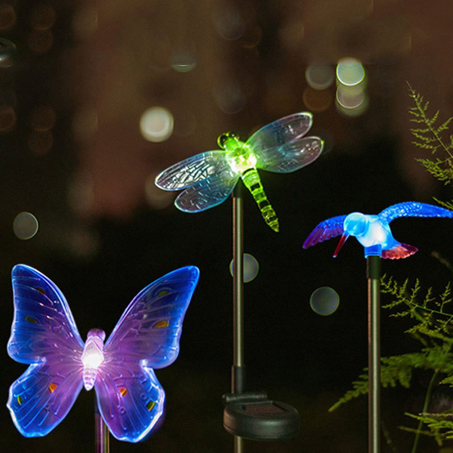 Farveskiftende LED Have Solar Light Udendørs Vandtæt Dragonfly / Butterfly / Bird Solar LED til Garden Decoration Path Lawn Lamp