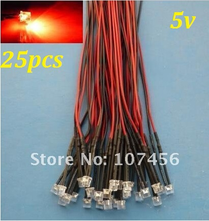 Free Shipping 25pcs Flat Top Red LED Lamp Light Set Pre-Wired 5mm 5V DC Wired 5mm 5v Big/wide Angle Red Led