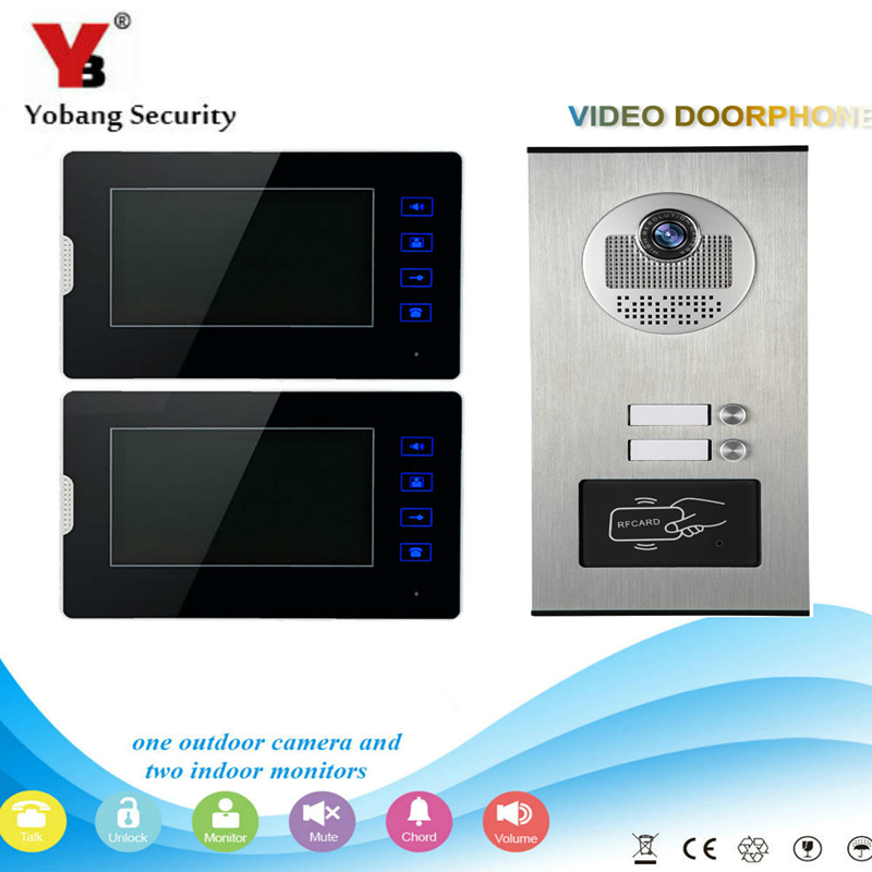 Yobang Security 7 Video Door Phone Home Doorbell Intercom System RFID Access Door Camera For 2 Unit Apartment Video Intercom yobang security 9 inch lcd home security video record door phone intercom system doorbell video monitor for apartment villa