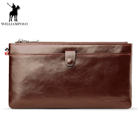 WILLIAMPOLO 2018 Men Fashion Wallet Genuine Leather Oil Wax Men S Wallets Men Credit Card Holder