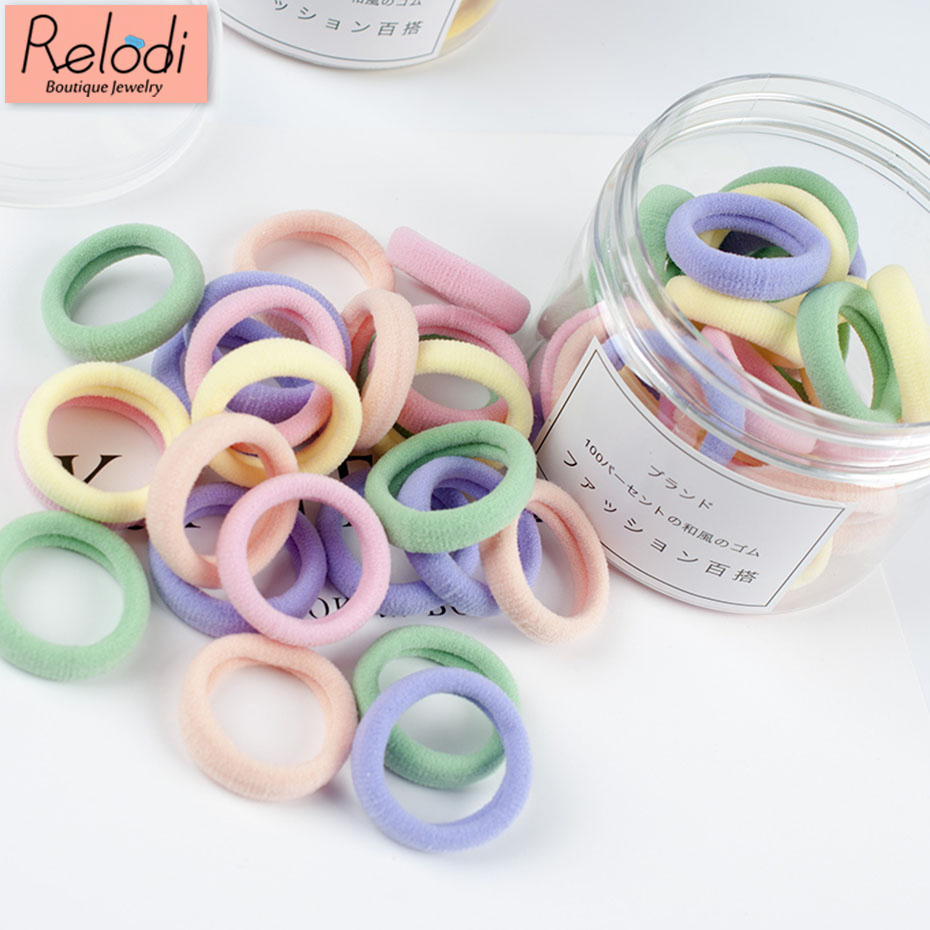 50pcs/ Box Cute Candy Colored Elastic Hair Bands for Child Baby Gum Ponytail Holders Hair Accessories Nylon Rubber SP1473