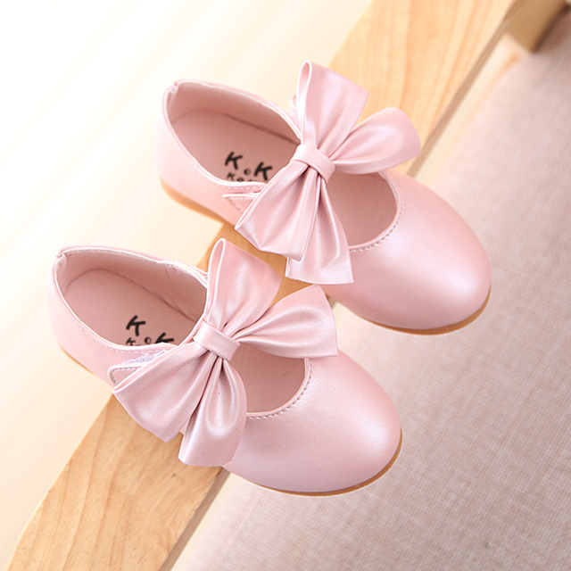 Girls Shoes Kids Autumn New 2016 Fashion Big Bow Children Shoes Girls Solid Soft Bottom Cute Baby Girl Shoes 9051W
