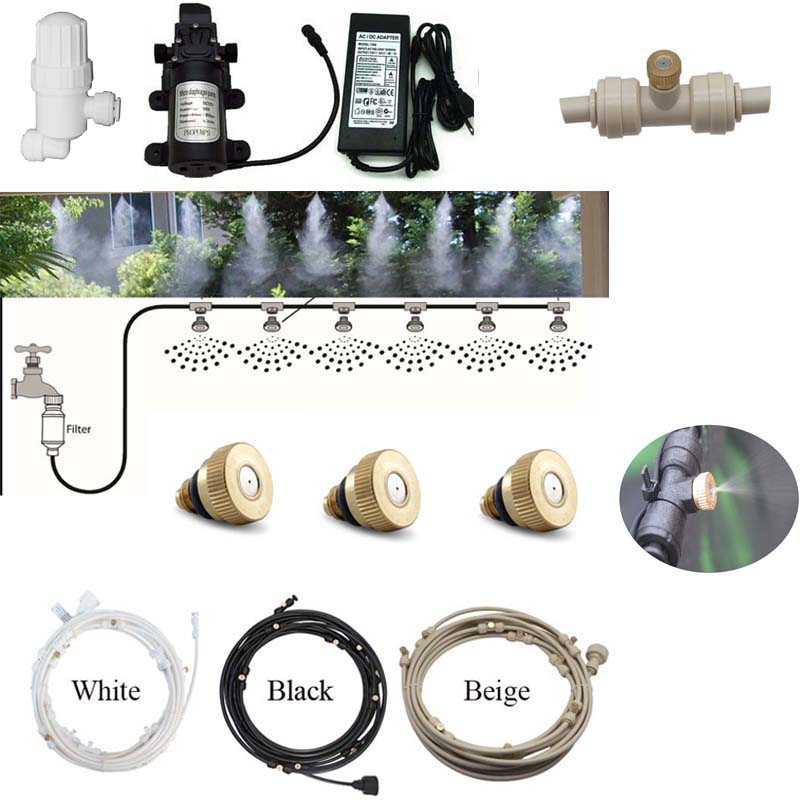 Three colors water spray outdoor garden misting cooling system fog for flowers plants 6M-18M