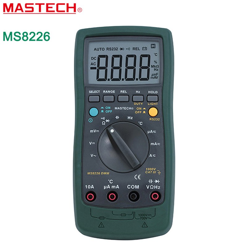 MASTECH MS8226 Handheld RS232 Auto Range LCD Digital Multimeter DMM Capacitance Frequency Temperature Tester Meters mastech my68 handheld lcd auto manual range dmm digital multimeter dc ac voltage current ohm capacitance frequency meter