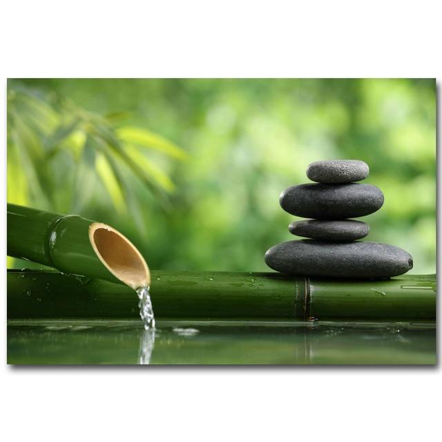Nicoleshenting zen stone and bamboo meditational art silk for Glasbilder modern art