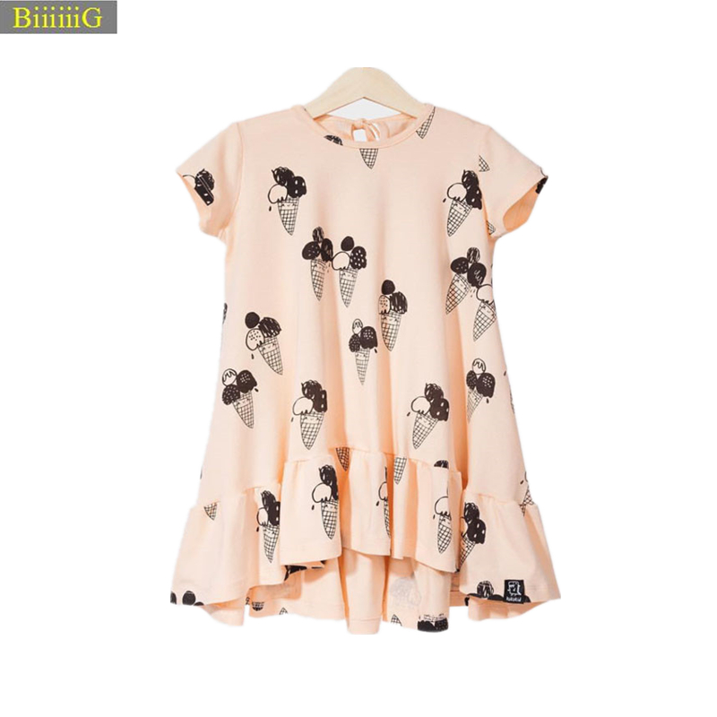 цены Summer Baby Girls Dress Ice Cream Print 100% Cotton Toddler Girl Clothing Cartoon 2018 Fashion Kids Girl Clothes Infant Dresses