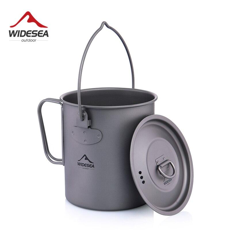 Widesea 750 ml Titan Topf Titan Wasser Becher Tasse mit Deckel Faltbare Griff Outdoor Camping Kochgeschirr Kochen Töpfe Picknick Hängen topf