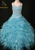 2017 Sıcak Yeni Kız Parti Pageant Abiye Halter Boncuk Kristaller Pembe Çiçek Kız Elbise Vestido Daminha Casamento QA205