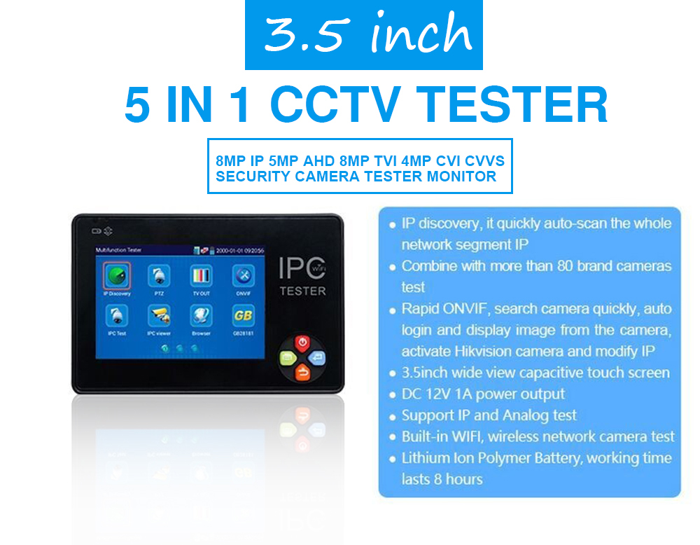 US $95 63 27% OFF|New 3 5 Inch H 265 4K IP CCTV Tester Monitor IP AHD CVI  CVBS TVI IP Camera Tester ONVIF PTZ WIFI 12V1A Output Wireless WIFI-in