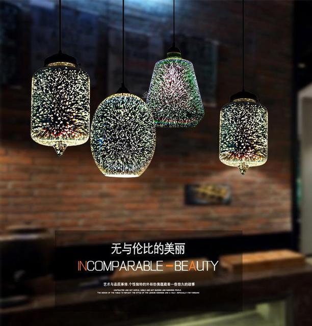 Đèn LED Hiện Đại Nhiều Màu Sắc Mạ 3D Kính Mặt Dây Chuyền Ánh Sáng Kính Tráng Gương Bóng Chụp Đèn Cho Nhà Hàng Cafe Thanh Ăn Đèn Bàn Phòng Khách