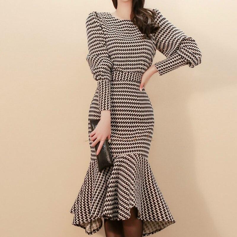 6ab0de61bcd1 Winter Two Piece Set Top Body con Fishtail Skirt Knee-Length Suit Party  Dress