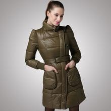 European New Fashion Women Winter Coat Elegant Standing collar Slim Down jacket Women Thickening Warm Medium long Coat G1887