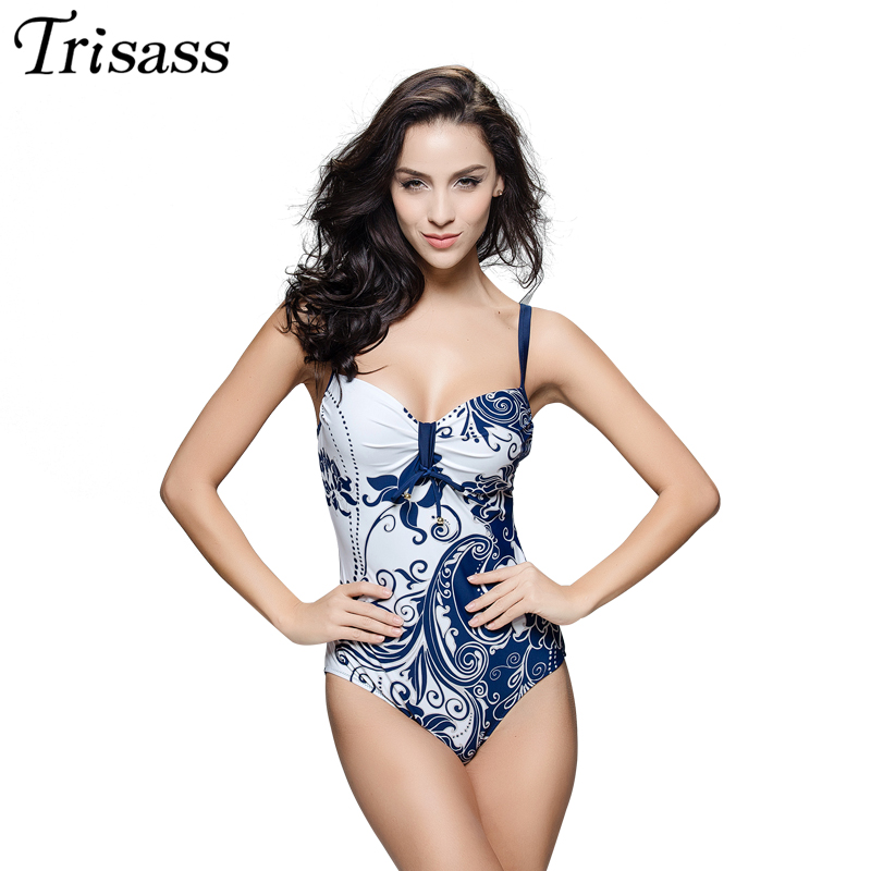 Trisass 2017 New Floral Monokini One Piece Swimsuit  Vintage Bathing Suits Plus Size Swimwear Maillot De Bain Hot Springs 7XL one piece swimsuit cheap sexy bathing suits may beach girls plus size swimwear 2017 new korean shiny lace halter badpakken