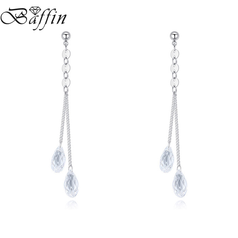 BAFFIN Crystals From Austria Water Drop Earrings Long Chain Piercing For Women Silver Color Wedding Party Boho Jewelry