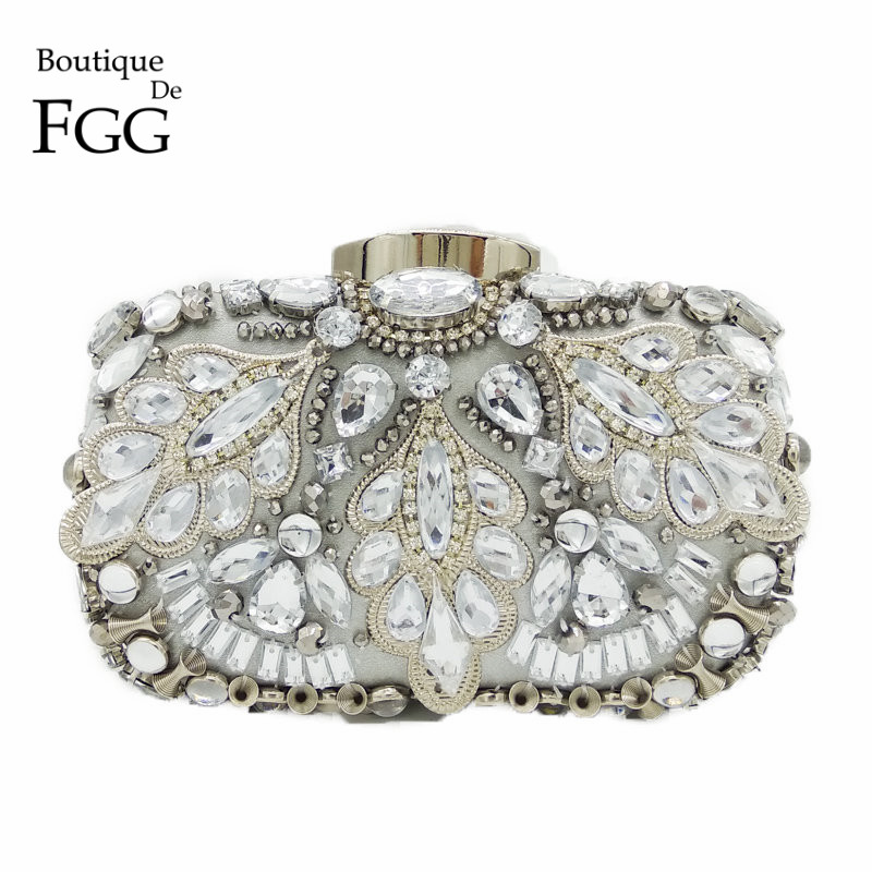 Boutique De FGG Vintage de argint Beaded Femei de seară sacoșe Formal de cină de nunta Party Beading Genți de mână Portmonee Bridal Clutch Bag