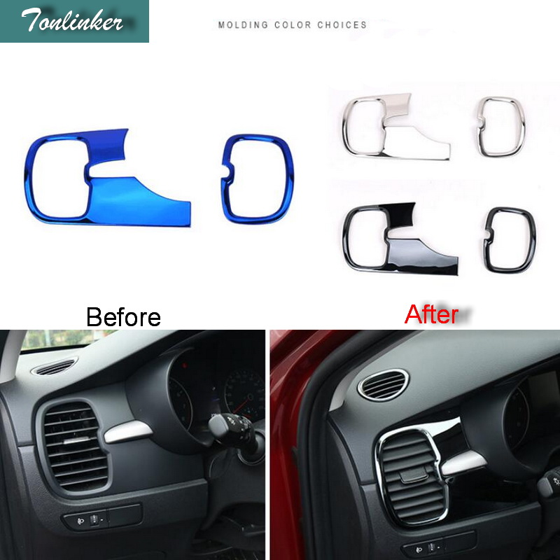 Tonlinker Cover case sticker for KIA K2 RIO 2017 Car styling 5pcs Stainless steel dashbo ...