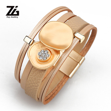 ZG 2019 pulseras piedras de colores women leather big flower bracelet in 4 colors