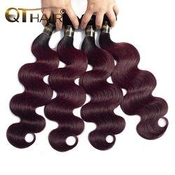 QT Омбре пучки волос человеческие волосы волнистые перуанские объемные волны Ombre 1B/99J винно-красные волосы Remy с эффектом омбре пучки бесплатн...