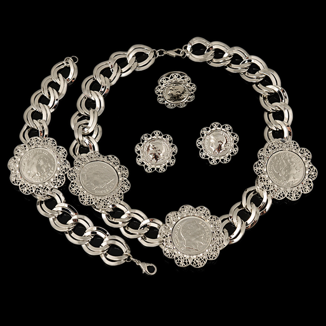 Top Quality Costume Jewelry Sets High Quality African Dubai Silver Plated Jewelry Sets Big Pendant For Women Party Vintage Style