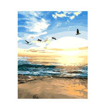 DIY Digital Oil Painting,Home Decoration Drawing,Sunrise Beach,Painting By Numbers Seagull