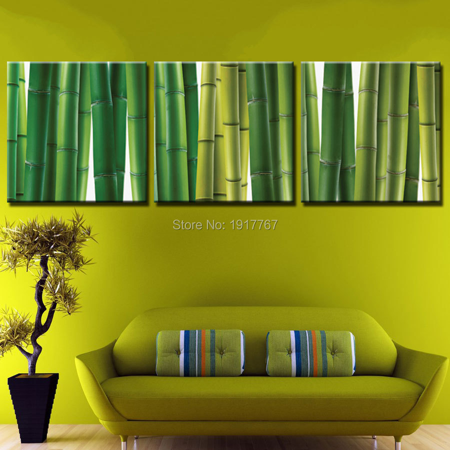 3pcs HD Canvas Print Painting green bamboo Plant Wall Art Picture ...