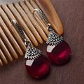 S925 Sterling Silver Opal Drop Earrings Red Corundum Wedding Party 925 Silver Earring for Women Jewelry LE36