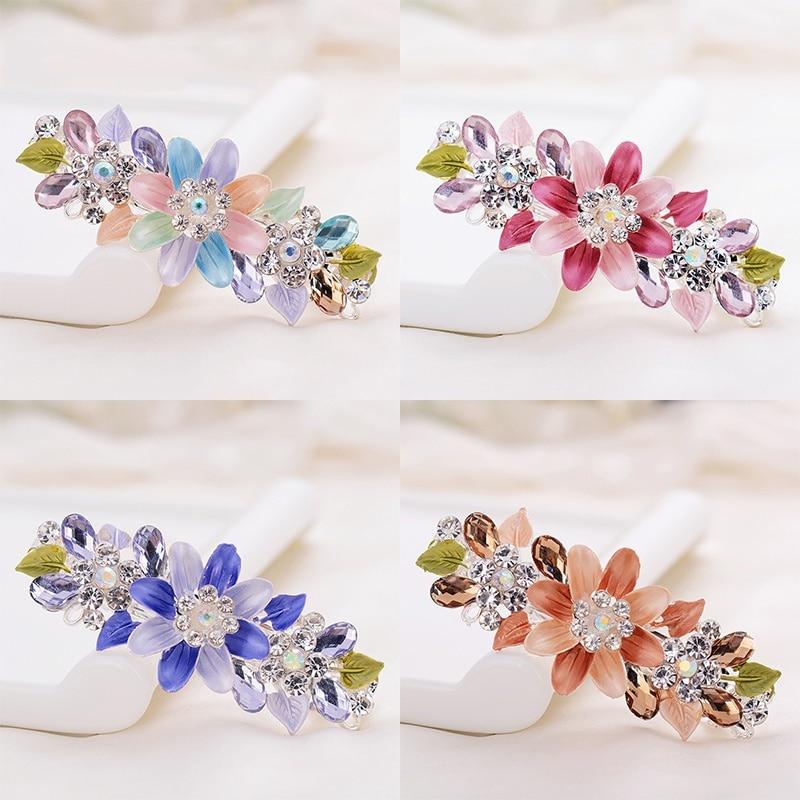 EASYA 5 Colors Crystal Flower Barrettes Women Fashion Enamel Hair Clips Hairwear Big Alloy Hairpin Hair Accessories