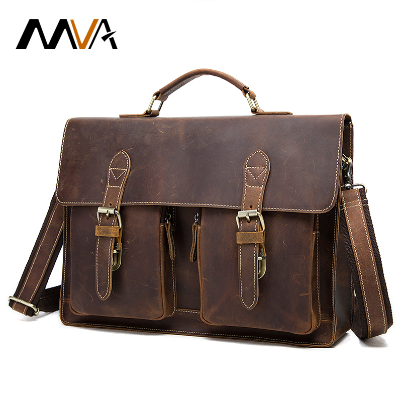 MVA Men Briefcase Crazy Horse Leather Handbags Office Bags for Mens Messenger Bag Men Laptop Bag Briefcases Genuine Leather 9033 joyir crazy horse leather briefcases men s genuine leather business bags male shoulder bag laptop bag men office bags for men