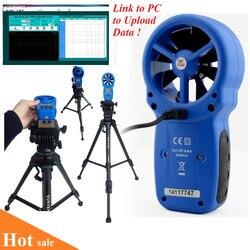 HP-866A profesjonalny anemometr USB miernik prędkości wiatru rejestrator przepływu wiatru tester prędkości powietrza pomiar temperatury/wilgotności