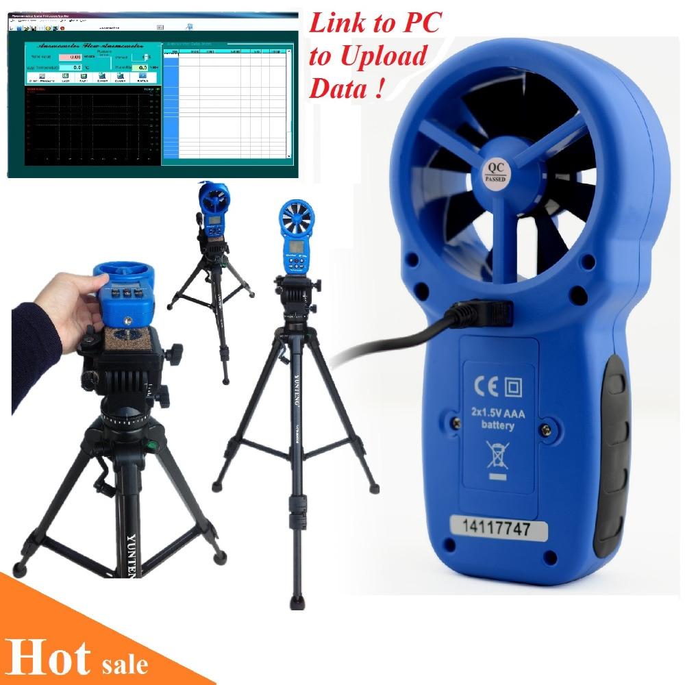 HoldPeak HP-866A Professional Anemometer USB Wind Speed Meter Wind Flow Logger Air Speed Tester Temperature/Humidity Measure peakmeter ms6252b digital anemometer air speed velocity air flow meter with air temperature humidity rh usb port