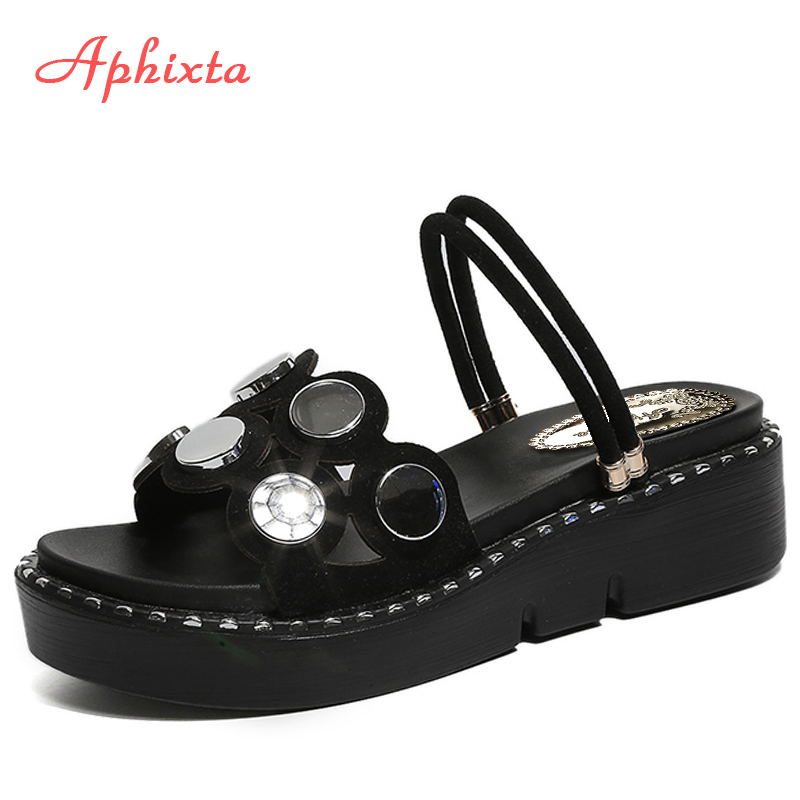 Aphixta Platform Sandals Women Shoes Bling Slides Breathable Wedges Slippers Lady Shoes Woman Med Heels Fashion Hollow Sandalias kesmall summer women sandals comfortable pu flat comfort sandals lady shoes woman white sandalias women wedges slippers home