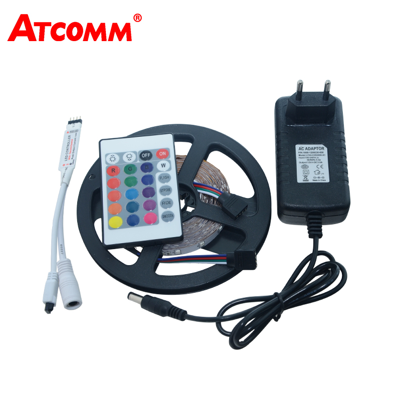 5M 3528 RGB LED Strip Light 60 LEDs/m RGB LED Flexible Tape Lamp 12V 3A Power Adapter With 24 Key Remote Controller
