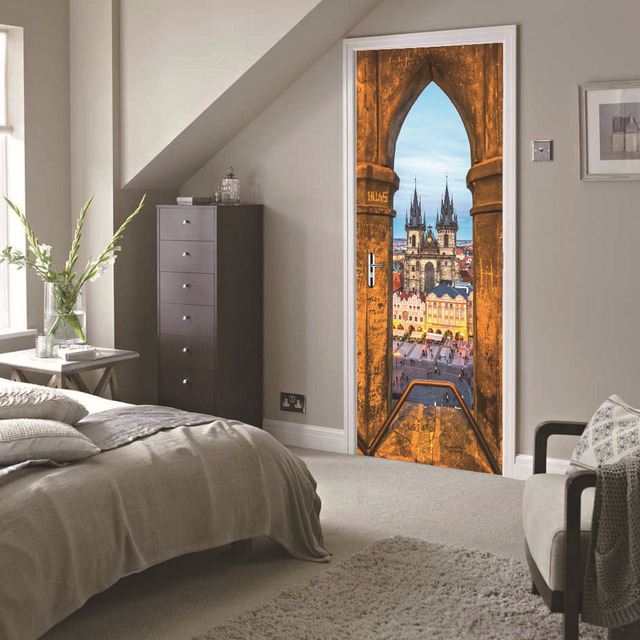 Funlife Prag Platz Kirche Tür Aufkleber Selbstklebende Wand Poster Für  Wohnzimmer Schlafzimmer Kreative Wandaufkleber